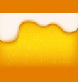 yellow horizontal beer background with white foam vector image