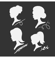 set of women silhouettes vector image