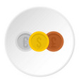 coins euro with dollar and pound icon circle vector image