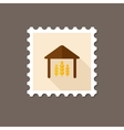 Barn flat stamp with long shadow vector image