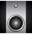 Big speaker on brushed metallic background vector image