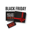 black friday sale design gift box with red ribbon vector image