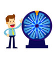 businessman spinning wheel fortune vector image vector image