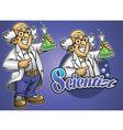 cartoon scientist wear lab cloth vector image