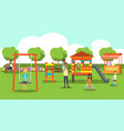 city park relaxing people children playground vector image