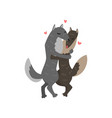 couple of wolves cute in love embracing each other vector image vector image