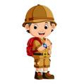 cute hiker boy vector image vector image