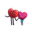cute red and pink hearts characters holding hands vector image vector image