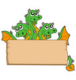 dragon with wooden sign vector image vector image