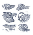drawing sea waves set vector image vector image