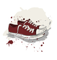 Drawing with red sneakers vector image vector image