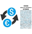 Euro Dollar Exchange Icon with 1000 Medical vector image vector image