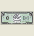 Fictional banknote 10000 dollars with a flag
