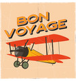 flight poster in retro style bon voyage quote vector image vector image