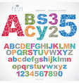 floral alphabet sans serif letters and numbers vector image vector image