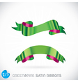 Green Pink Satin Ribbons vector image vector image