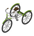 green tricycle icon isometric style vector image vector image
