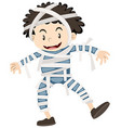 Happy boy dressed as mummy for halloween vector image vector image