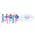 happy friendship day greeting card with diverse vector image vector image