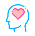 heart love symbol in man silhouette mind vector image vector image