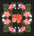 hibiscus hand drawn tropical realistic scarf vector image vector image