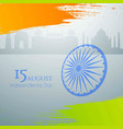 indian tricolor flag with wheel on grey vector image
