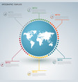 info graphic with map of the world in a circle vector image vector image