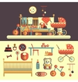 Interior of baby room and toys set for kids vector image vector image