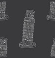 leaning tower pisa seamless pattern hand drawn vector image vector image