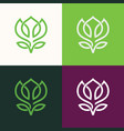 line flower green logo vector image