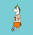 lovely hand-drawn unicorn-football player vector image vector image