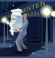 man carry documents from office to home at night vector image