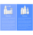 medication pharmacy poster pill bottles set spray vector image vector image