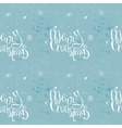 Merry christmas phrase on frosty blue seamless vector image vector image