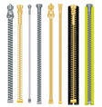 metal and plastic zipper set isolated on white vector image vector image