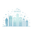 michigan detroit city skyline vector image vector image