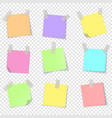 notepaper realistic papers with adhesive tape vector image vector image