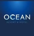 ocean lettering resort hotel logo concept vector image vector image