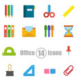 office set of 14 icons in a flat style vector image vector image