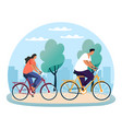 park scene with woman and man on bicycle bike vector image vector image