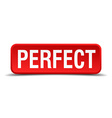 Perfect red 3d square button isolated on white vector image