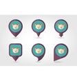 Pig mapping pins icons vector image vector image