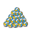 Pile volleyball ball Many volleyball balls Sports vector image vector image