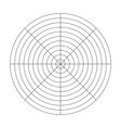 polar grid of 10 concentric circles and 45 degrees vector image vector image