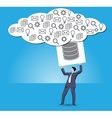 Putting data into cloud business concept vector image