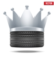 Realistic rubber tire with a silver crown vector image vector image