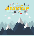 red flag on a mountain peak startup success vector image vector image