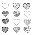 set of black hand drawn hearts on white background vector image vector image
