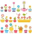 Set of flowers in pots vector image vector image