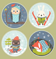 set of round cards with cute animals vector image vector image